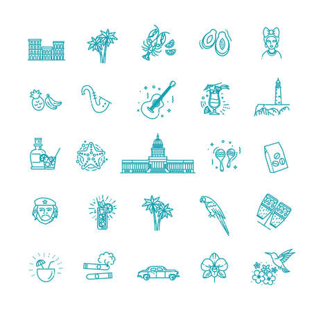 Cuba icon set. Outline vector icons of Cuban culture