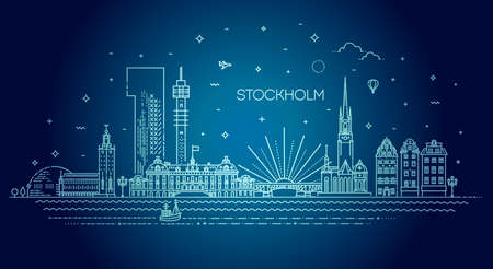 Stockholm line skyline with panorama in white background