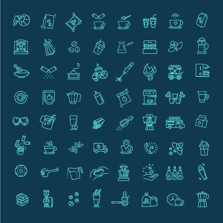 Coffee vector icons set. Thin line design Ilustración de vector