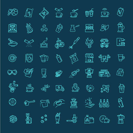 Coffee vector icons set. Thin line design 向量圖像