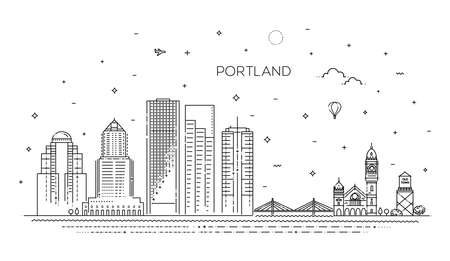 Oregon, Portland line skyline vector illustration