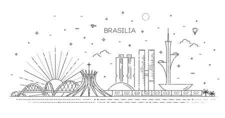 Brasilia architecture line skyline illustration 向量圖像