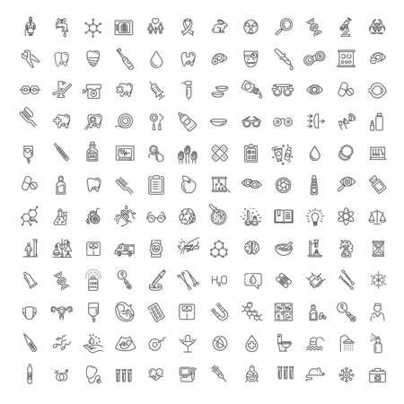 Line medicine consepts, vector outline Icons set