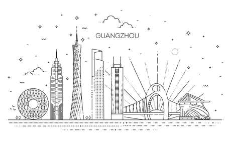 Guangzhou skyline, vector illustration in linear style