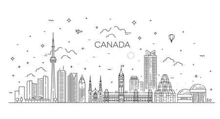 Canada architecture line skyline illustration