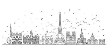France skyline with panorama in white background 向量圖像