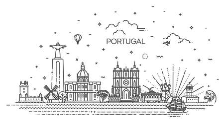 Portugal line skyline with panorama in white background 向量圖像