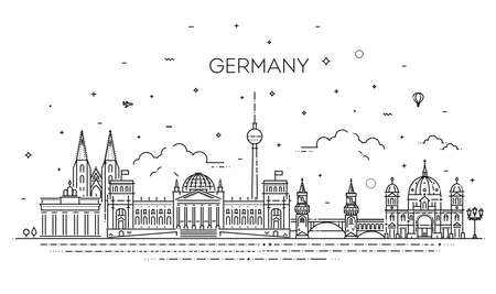 Cityscape with all famous buildings. Germany skyline composition for design 向量圖像