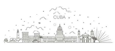 Cuba architecture line skyline illustration. Linear vector cityscape with famous landmarks