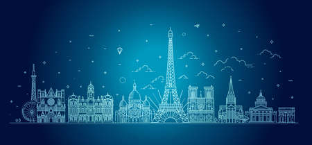France vector skyline with panorama Ilustracja