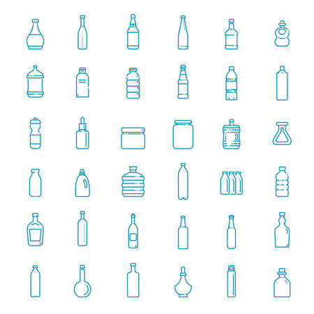Bottle, packaging collection - vector icons