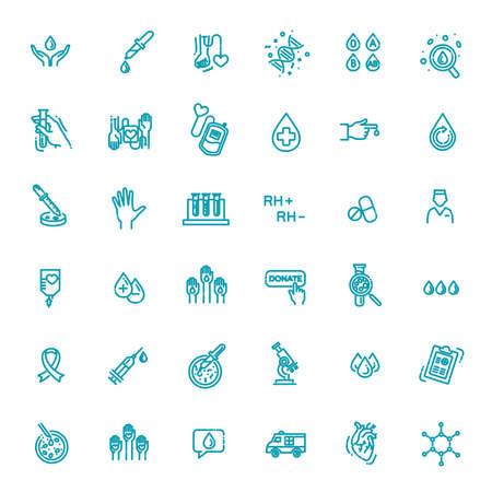 Hematology flat line icons set. Clinical laboratory thin line icons