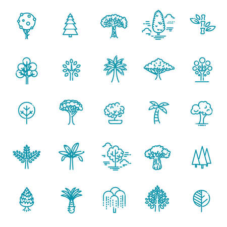 Vector Line Icons. Includes leaf, forest, trees botany and more