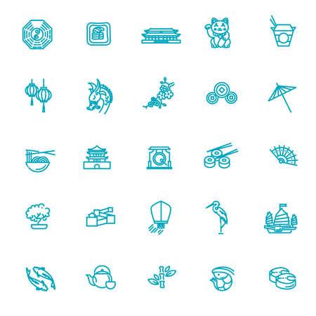 Japanese theme vector icon set
