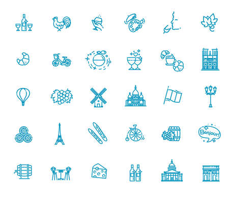 France Icons Set.France Illustration.France Flat Symbols.Paris Design Set. Paris Elements Collection