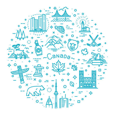 travel Canada traditional objects. Vector illustration