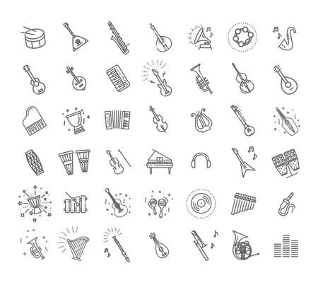 Vector line icons set. Collection of musical instruments icons