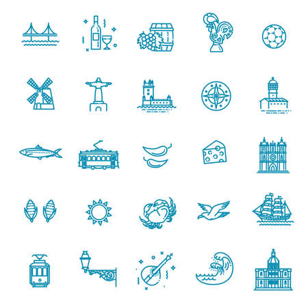 Flat design portugal icons set with national symbols and attraction