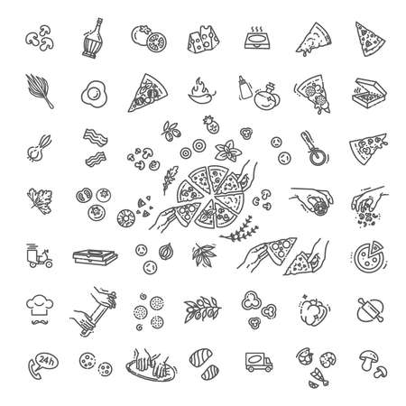 vector outline pizza icon set