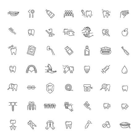Thin line vector icons of dental clinic services, stomatology, dentistry, orthodontics