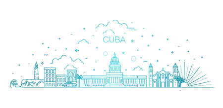 Cuba architecture line skyline illustration