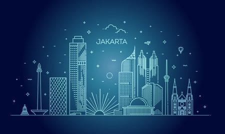 Jakarta Cityscape with Landmarks. Indonesia  イラスト・ベクター素材