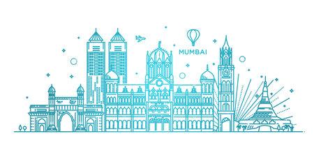 Mumbai detailed skyline. Travel and tourism background. Vector background. line illustration. Line art style  イラスト・ベクター素材
