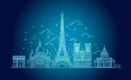 Architectural landmarks of Paris. Vector illustration  イラスト・ベクター素材