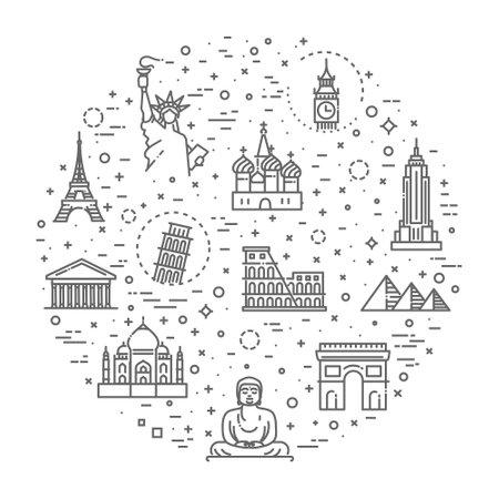 Travel landmarks line icon set. Vector Illustration