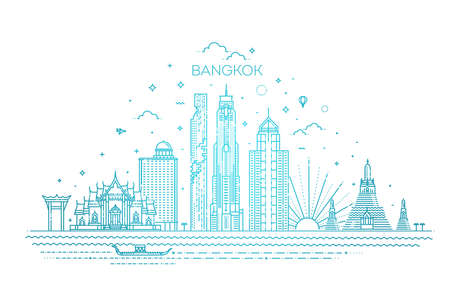 Thailand and attractions to Bangkok landmarks. Vector illustration - Vector