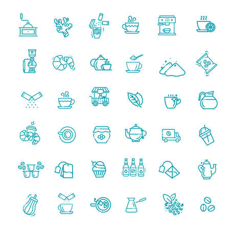 Coffee and tea vector icons set. Thin line design