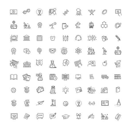 Outline vector line icon collection. School education, online education