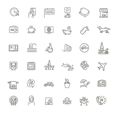 Hotel services concept illustration. Thin line vector icons 向量圖像