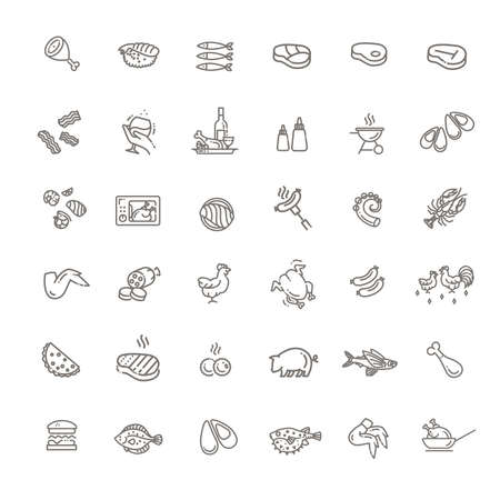 Simple Set of Meat Related Vector Line Icons. 向量圖像