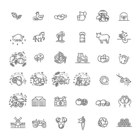 Set of Agriculture and Farming Line Icons 版權商用圖片 - 163003841