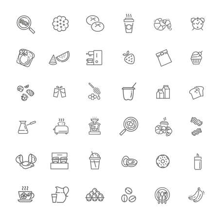 Vector outline breakfast flat icons. Cooking set