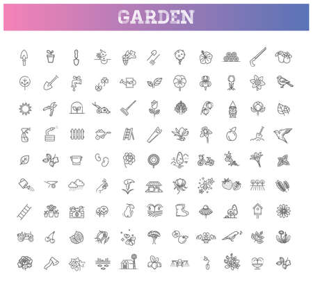 Collection of gardening vector line icons. Flower and Gardening