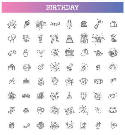 Happy Birthday Party line icon set