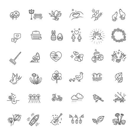 Spring icon set - weather, plant, flowers, garden Illustration