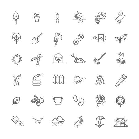 Vector line icon collection - Flower and Gardening