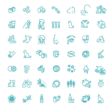 Allergy and Allergens Vector Line Icons Set. Allergy to Animal Hair, Food and Pollen Illustration