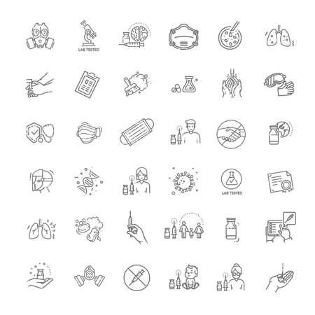Virology outline icon set. Hygiene, disinfection, symptoms, treatment, virus, prevention