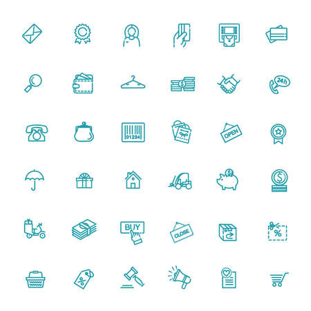 Thin lines web icons set - E-commerce, shopping
