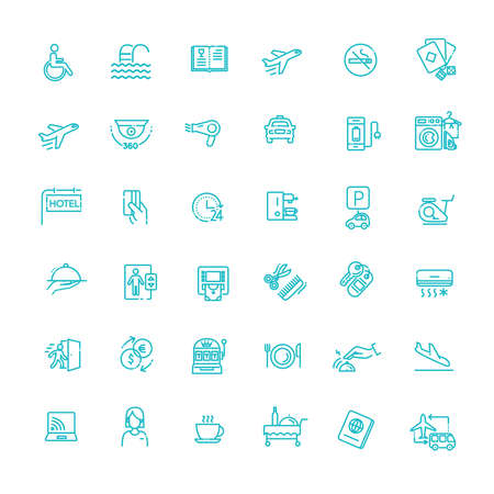 Hotel services concept illustration. Thin line vector icons Illustration