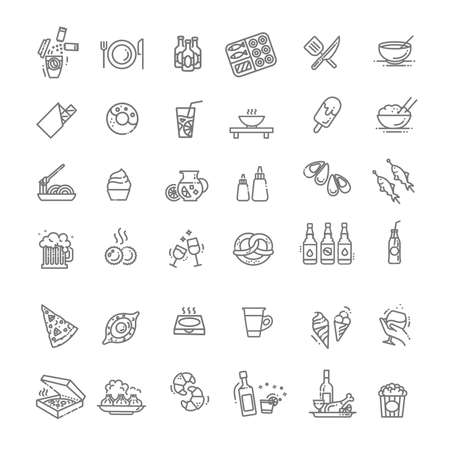 Food courts icons set. Outline set of food courts vector icons
