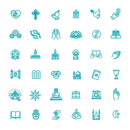 Vector religion icons set thin style. Vector Illustration