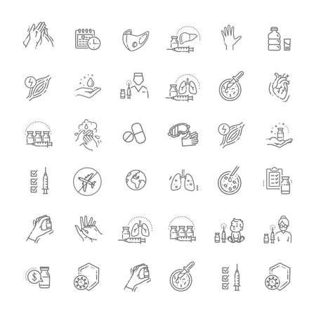 virus Prevention. virus Vector Line Icons Ilustrace