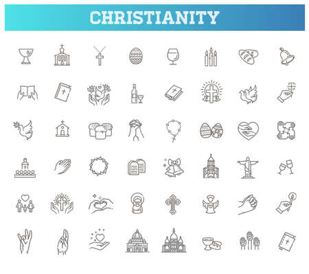 Christianity vector symbols. Set symbols religion and church line icon Illustration