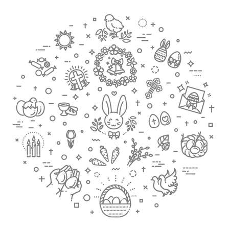 Happy Easter flat line icon set. Religion related icons