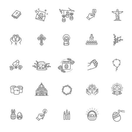 Happy Easter icons set. Christianity vector symbols Illustration